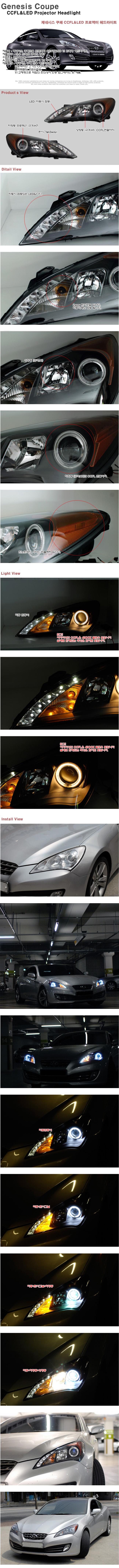 제네시스 쿠페 CCFL(화이트) 엔젤아이 & LED 헤드라이트 (`09~)