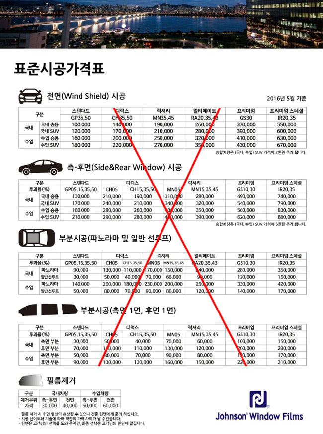 존슨썬팅, 존슨 열차단필름 시공